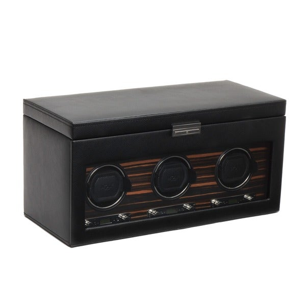 WOLF Roadster Black Faux Leather Module 2.7 Triple Watch Winder