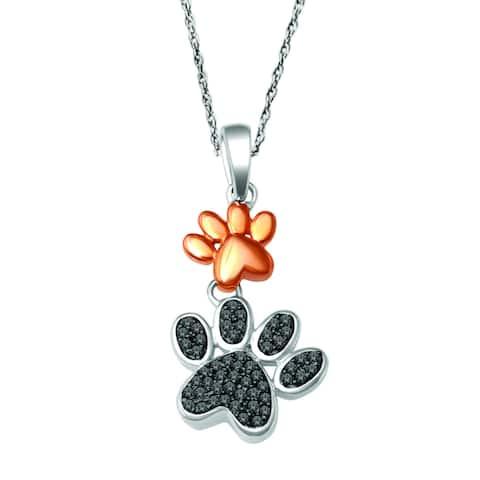 De Couer 10k Two-tone Gold 1/8ct TDW Black Diamond Dog Paw Necklace