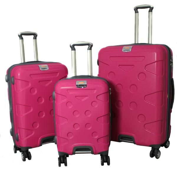 Peninsula 3-piece Lightweight Expandable Pink Hardside Spinner Luggage Set with TSA Lock