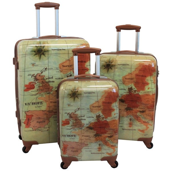 World Traveler Euro 3 Piece Expandable Lightweight Hardside Spinner Lock Luggage Set