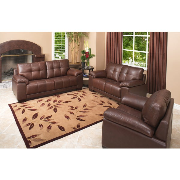 abbyson living clarence 3 piece top grain leather reclining sofa