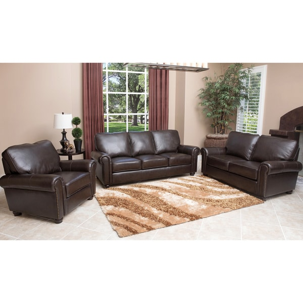 ABBYSON LIVING London Top-grain Leather Living Room Sofa Set