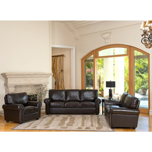 abbyson london top-grain leather living room sofa set - free