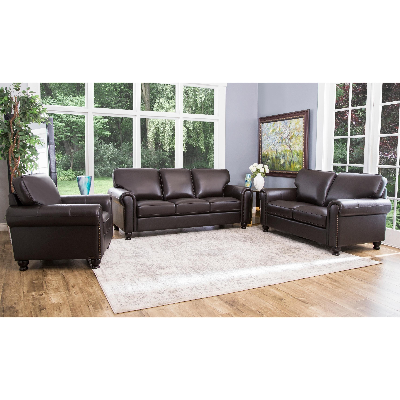 Abbyson London Brown Top Grain Leather 3 Piece Living Room Sofa Set