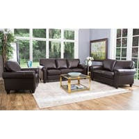Abbyson London Top-grain Leather Living Room Sofa Set