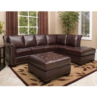 Abbyson Living Glendale Premium Top-grain Leather Sectional Ottoman Set