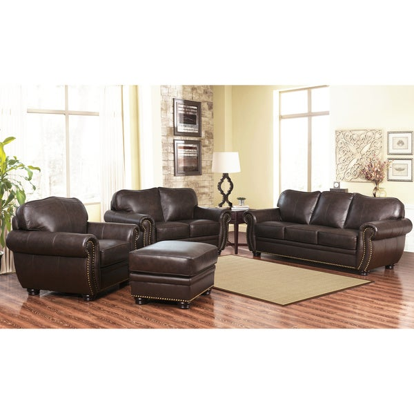 Abbyson richfield top grain leather 4 piece living room for Living room furniture 0 finance