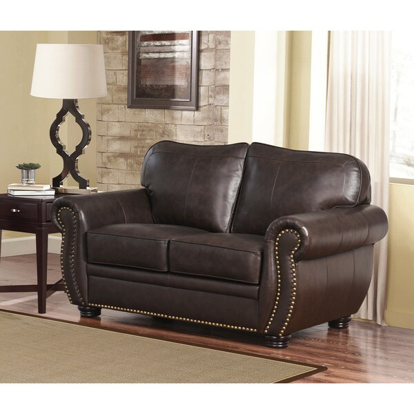 Abbyson Richfield 4-Piece Premium Top-grain Leather Sofa, Loveseat ...