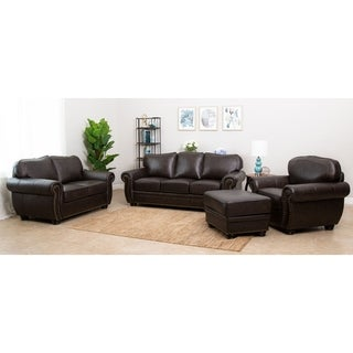 Abbyson Richfield 4-Piece Premium Top-grain Leather Sofa, Loveseat, Armchair, Ottoman Set