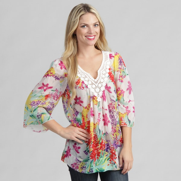 Sienna Rose Women's Floral Chiffon Tunic Top