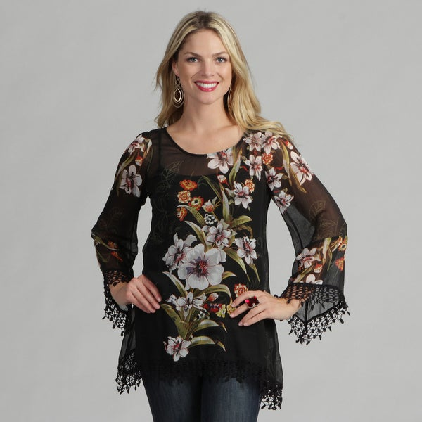 Sienna Rose Women's Black Lily Kaftan Tunic Top