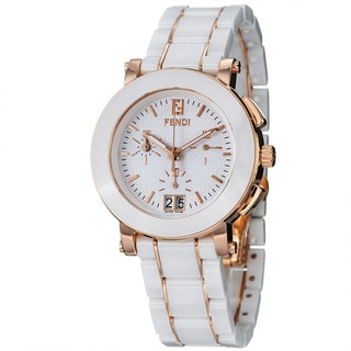 Fendi Women's F672140 'Ceramic' White Dial Rose Goldtone Chronograph Watch