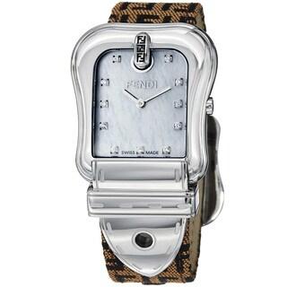 Fendi Women's 'B. Fendi' Mother of Pearl Diamond Dial Strap Watch