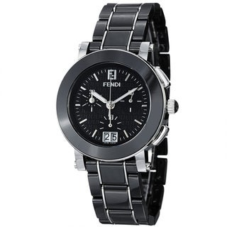 Fendi Women's F661110 'Ceramic' Black Dial Chronograph Quartz Bracelet Watch - silver