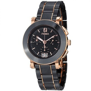 Fendi Women's F671110 'Ceramic' Black Dial Rose Goldtone Chronograph Watch