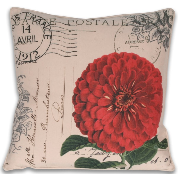 Thro French Zinnia Postcard Decorative Pillow