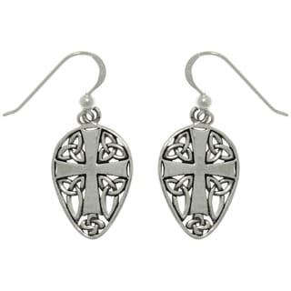 Sterling Silver Cross and Celtic Knots Earrings