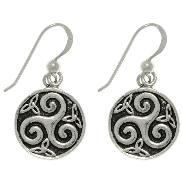 Carolina Glamour Collection Sterling Silver Celtic Trinity Spiral Round Dangle Earrings