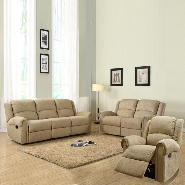 Polmont Beige 3-piece Chenille Sofa Set