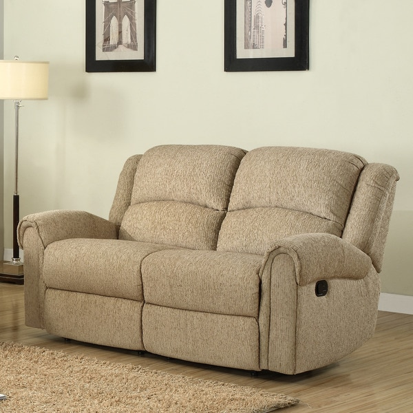 Polmont Beige Chenille Recliner Loveseat Free Shipping