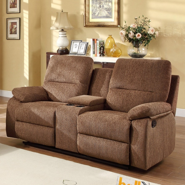 Corbridge Dark Brown Chenille Double Recliner Loveseat