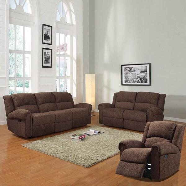 Polmont Dark Brown Chenille 3-piece Sofa Set