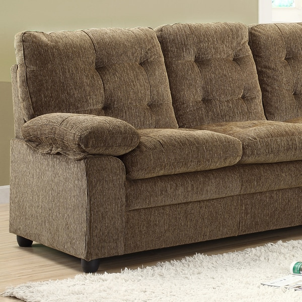 Shop Sequoia 3 Piece Golden Brown Chenille Sofa Set   Free Shipping Today    Overstock.com   7316258