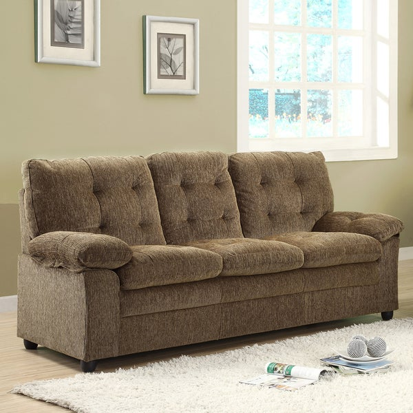 Shop Sequoia Golden Brown Chenille Sofa Free Shipping Today