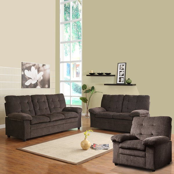 Sequoia Chocolate Chenille Tufted 3-piece Living Room Set