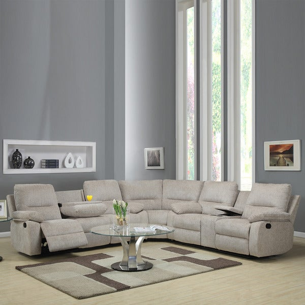 Corbridge Light Beige Chenille 6-seater Recliner Sectional Sofa