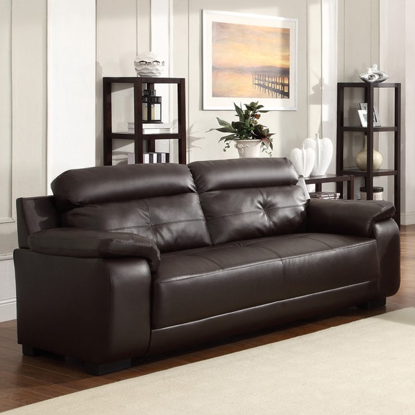 Arcata Brown Bonded Leather Sofa