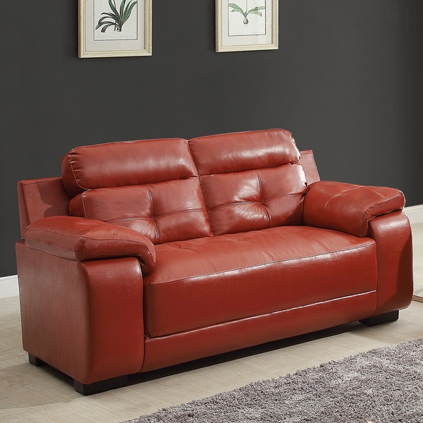 Arcata Red Bonded Leather Loveseat