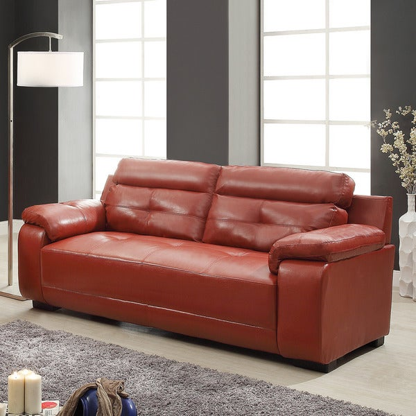 Arcata Red Bonded Leather Sofa