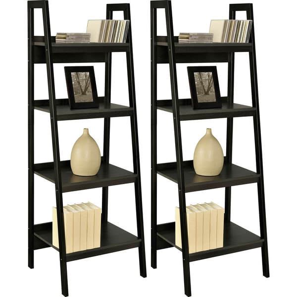 Ameriwood Home Lawrence Black Ladder Frame Bookcases (Set of 2)