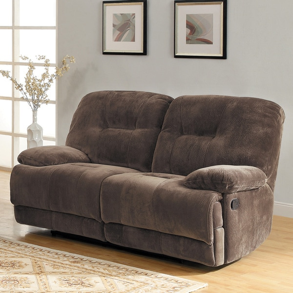 Felicity Chocolate Champion Microfiber Reclining Loveseat by TRIBECCA HOME
