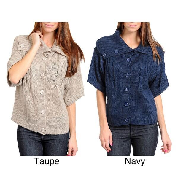 Stanzino Women's Button-up Short Sleeve Sweater Top
