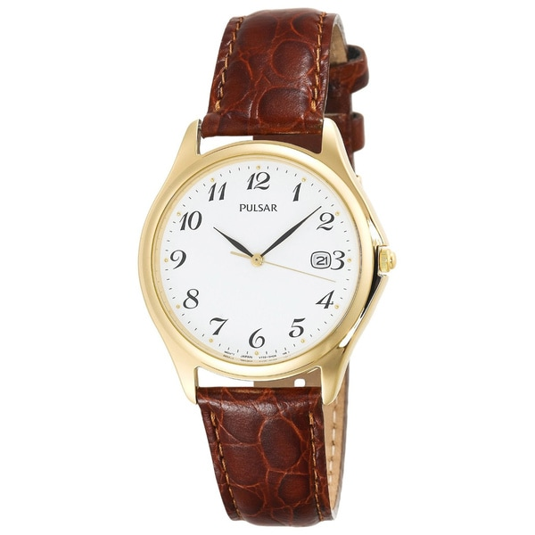 Pulsar Men's Goldtone Stainless Steel Leather Watch
