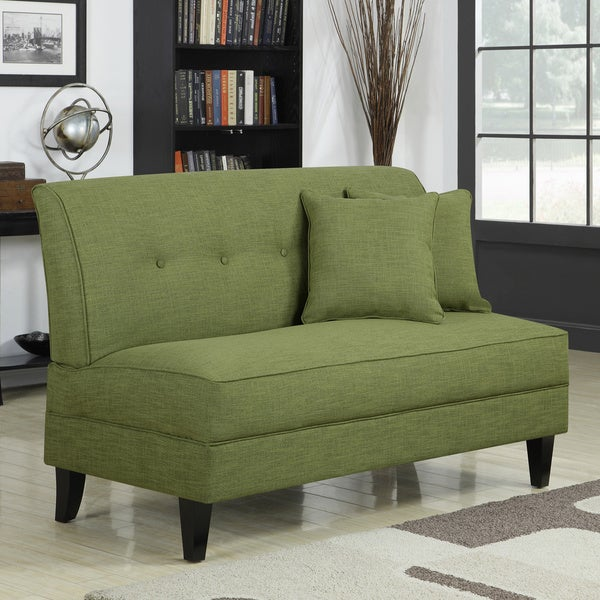 handy living engle apple green linen armless loveseat free shipping today. Black Bedroom Furniture Sets. Home Design Ideas