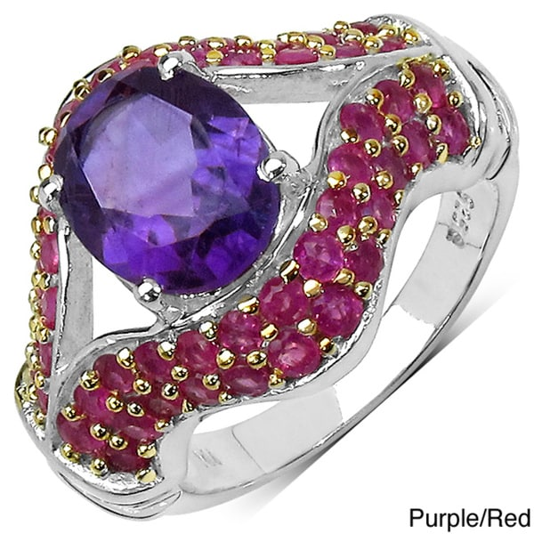 Malaika Sterling Silver 4.54ctw Amethyst and Ruby Ring