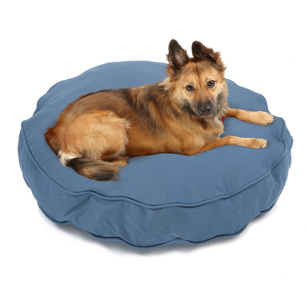 Sweet Dreams Blue Indoor/ Outdoor Round Corded Sunbrella Fabric Pet Bed