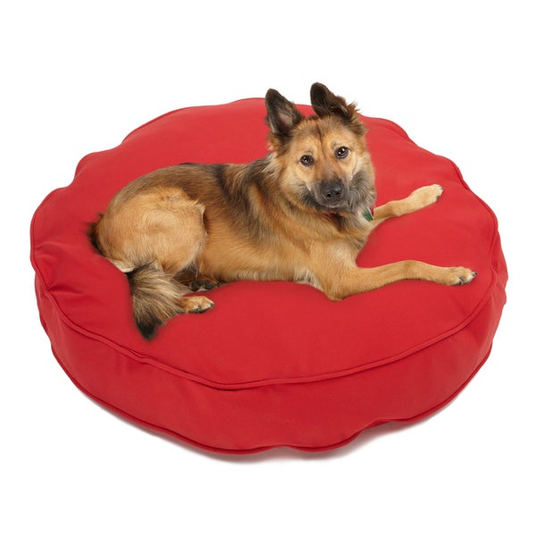 Sweet Dreams Red Indoor/ Outdoor Round Corded Sunbrella Fabric Pet Bed
