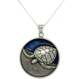 Sterling Silver and Enamel Sea Turtle Necklace - White