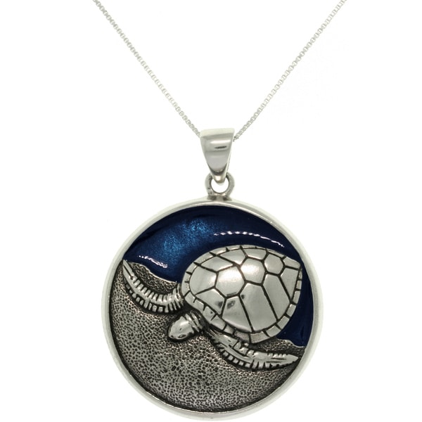 Carolina Glamour Collection Sterling Silver and Enamel Sea Turtle Necklace