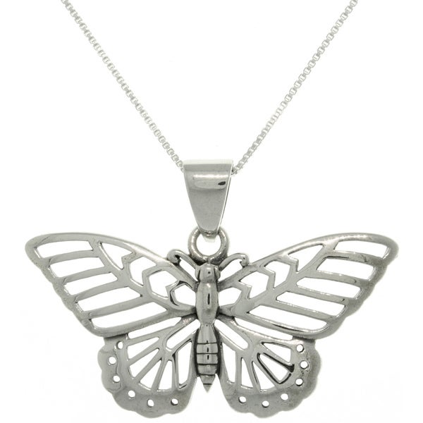 Carolina Glamour Collection Sterling Silver Butterfly Necklace