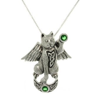Silver Green Glass Angelic Celtic Cat Necklace