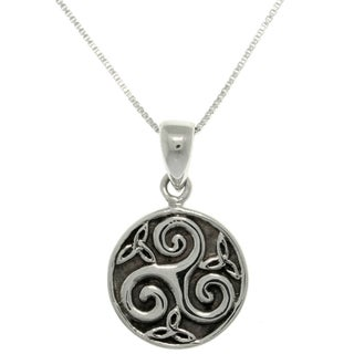 Carolina Glamour Collection Sterling Silver Celtic Trinity Spiral Necklace
