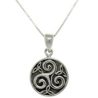 Shop sterling silver celtic spiral triskele trinity knot necklace sterling silver celtic trinity spiral necklace aloadofball Images