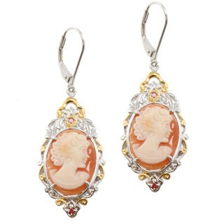 Michael Valitutti Two-tone Lady-face Cameo with Round Orange Sapphire Dangle Earrings