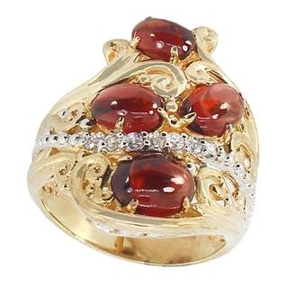 Michael Valitutti Palladium Silver Garnet White Sapphire Ring