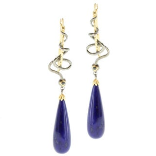 Michael Valitutti Palladium Silver Two-Tone Lapis Blue Sapphire Earrings